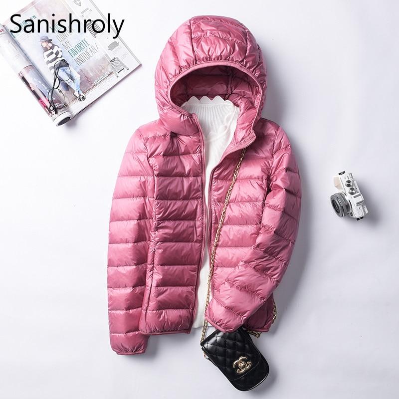 Sanishroly 2019 Autumn Winter Women White Duck   Down   Jacket Hooded Ultra Light   Down     Coat   Parkas Female Short Tops Plus Size SE395