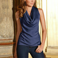 6Color Satin T shirts Women 2016 Summer New Fashion Sexy Solid Tops Cowl O Neck Sleeveless