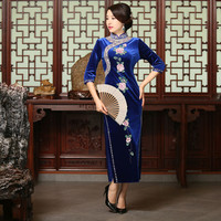 Elastic Velour Fashion Classic Half Sleeve Embroider Beads Sequined Long Chiese Cheongsams Dress Women Autumn Qipao