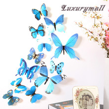 Wall-Stickers Pared Home-Decorations Butterfly 3d PVC Cute 12pcs