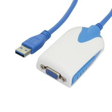 20pcs / lots USB 3.0 to VGA RGB Video External Graphics Card HDTV Adapter Cable for Macbook Laptop Monitor Windows ,By UPS