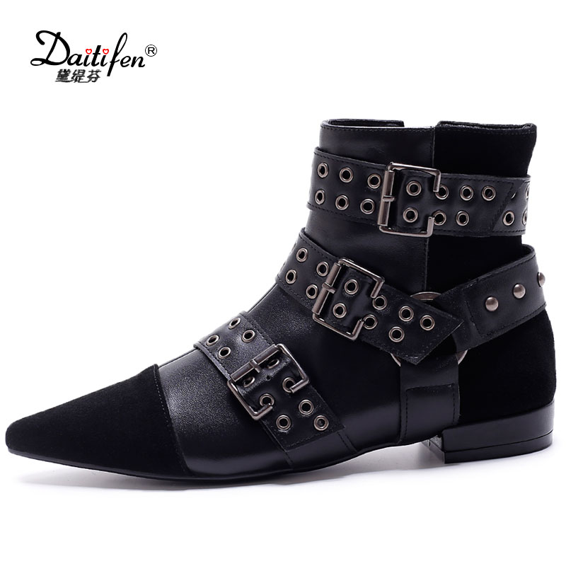 Daitifen Studded Genuine Leather Women Ankle Boots Pointed Toe Buckle Strap Rivets Flat Riding Boots Runway Shoes Woman Black amourplato womens handmade pointed toe ankle wrap flats bridesmaid ballerinas ankle strap flats shoes with buckle size5 13
