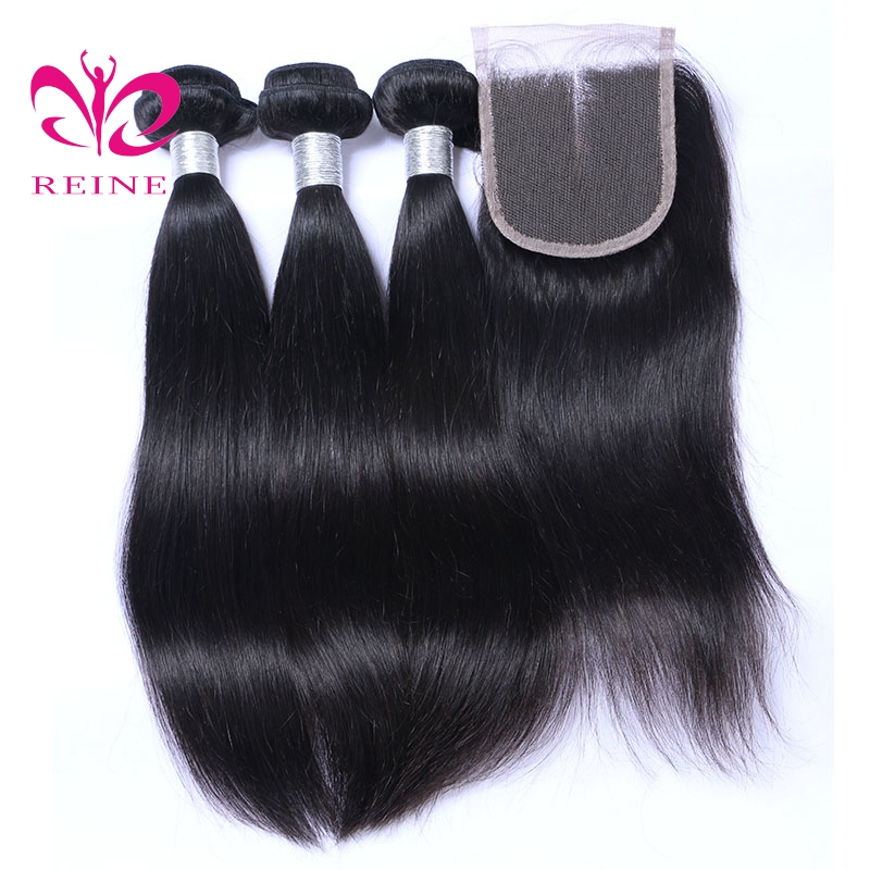 REINE Straight Hair Indian Hair 100% Human hair Natural Color 3 Bundles with Closure none remy Free Shipping
