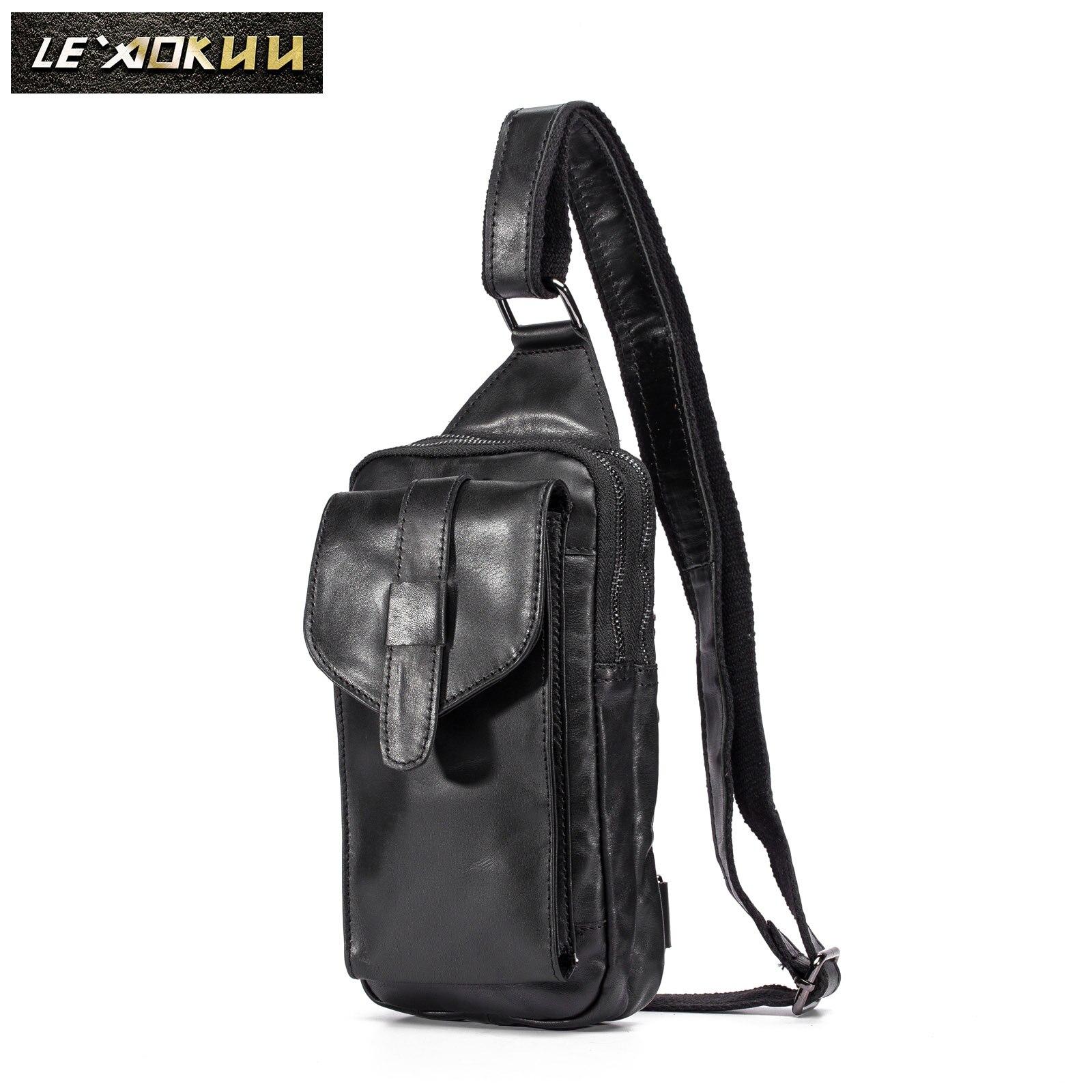 Top Quality Mens Genuine Real Leather Travel Backpack Belt Waist Chest Pack Bag Sling Crossbody Bag Daypack XB571-b