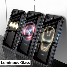 Luxury Luminous Glasses Case for iPhone 6s 6 S 7 8 Plus Batman Spiderman Iron Man Cover iphone XS MAX XR X 10 6plus Cases