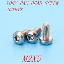 1000pcs m2*5 M2x5 torx pan head six lob machine screw