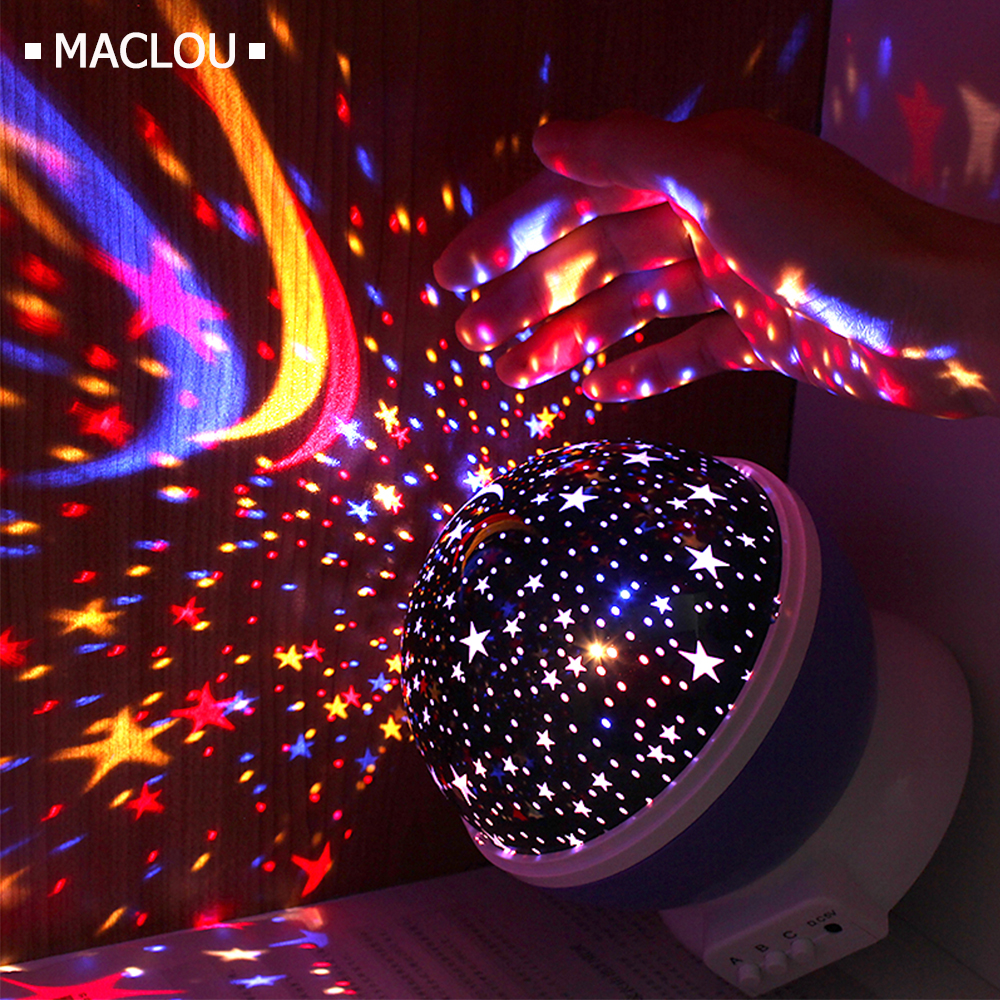 Rotating Star Novelty Night Light Romantic Moon Sky Rotation Night Projector Lamp LED USB Battery for Room Decor Christmas Light