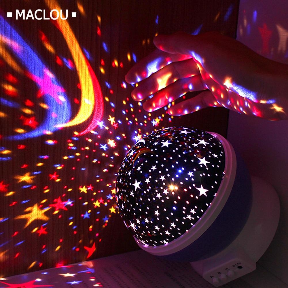 Rotating Star Novelty Night Light Romantic Moon Sky Rotation Night Projector Lamp LED USB Battery for Room Decor Christmas Light