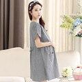 Летнее платье новый V воротник popling в длинные свободные платья материнства