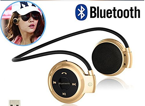 Universal Wireless Stereo Bluetooth 4.0 Earphone Sport Headset Music Headphone +TF Cart Slot +Microphone (gold+8gb TF card) headphones blutooth 4 1 wireless foldable sport earphone microphone headset with tf card slot mp3 player music earphone earpiece