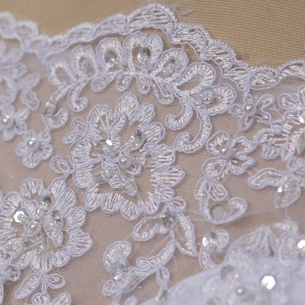 Tulle With Lace Applique Long Train Three Quarter Sleeve Wedding Dress