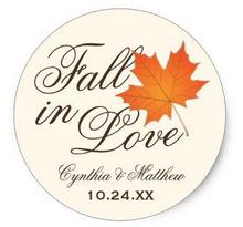 1.5inch Wedding Favor Sticker Fall in Love Theme
