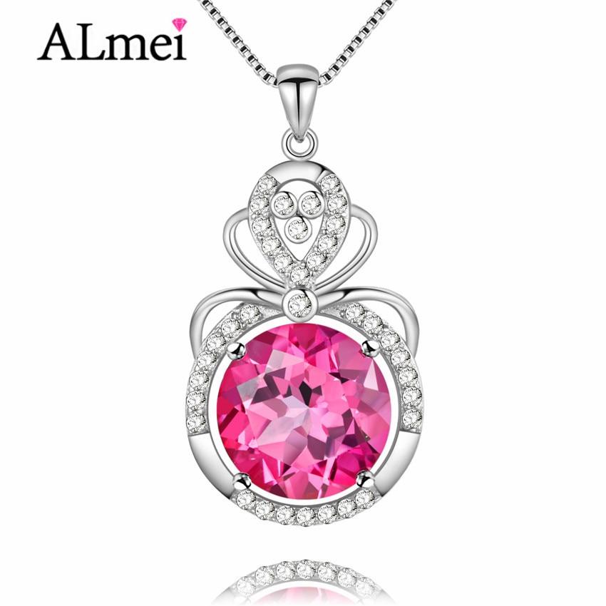 Almei 8ct collier chaîne topaze rose 925 argent Sterling pierres précieuses naturelles femmes bijoux fins Colar Gargantilha avec boîte 40% FN006