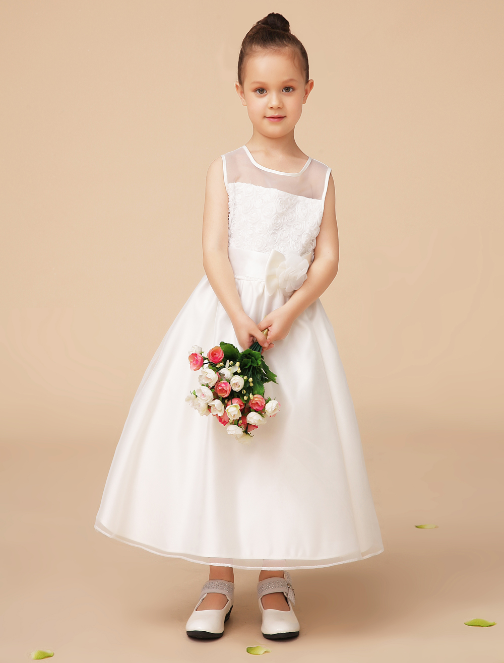 Pretty A line wedding Flower Girl Dress with Lace embroidery and sash kids little girls formal