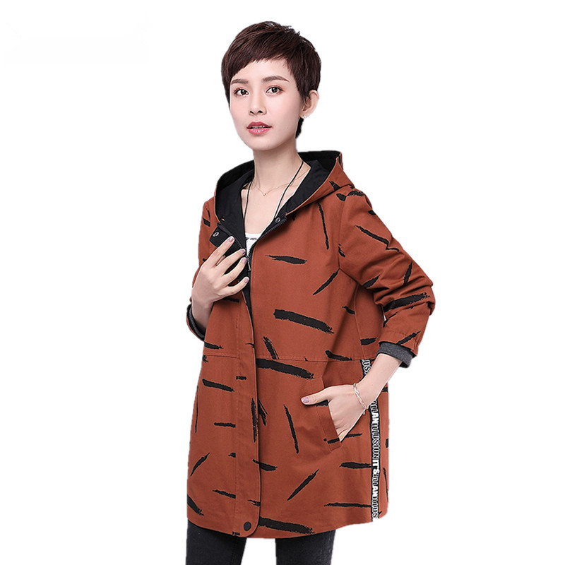 New Arrival Jacket Women Spring Autumn Hooded 97% Cotton Casual Fashion Khaki Army Green Ladies Outerwear Coats Female Clothes