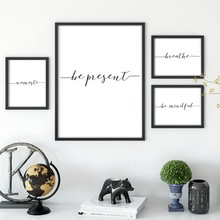 Yoga Spiritual Canvas Painting Art Poster Wall Decor , Be Present / Namaste / Breathe Calligraphy Yoga Wall Art Prints(China)