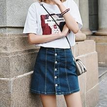 Retro high waist denim skirt slim mini skirt Preppy single breasted 2017 Summer Style women Jeans A-Line Short Skirt 90's faldas girls single breasted denim skirt
