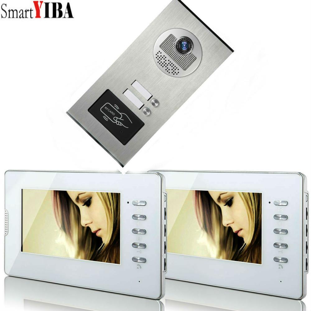SmartYIBA Wired Video Intercom Systems 2 Apartments 7 Inch Video Door Phone System RFID IR-CUT HD 700TVL Doorbell Camera