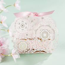 pink fantasy Hollow Candy Boxes Party Wedding Favor Gift Box DIY cre ative candy box Romantic mariage 50 pcs/lot Fre