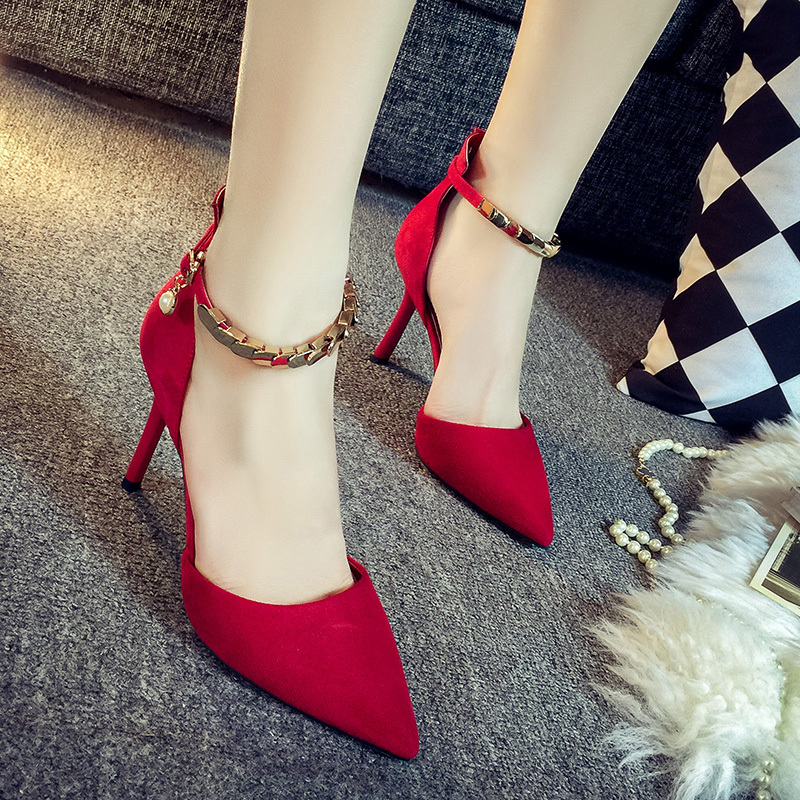 ФОТО 2016 summer suede pointed thin high heels shallow mouth pumps buckle rhinestones metal sequins buckle sandals women red pumps