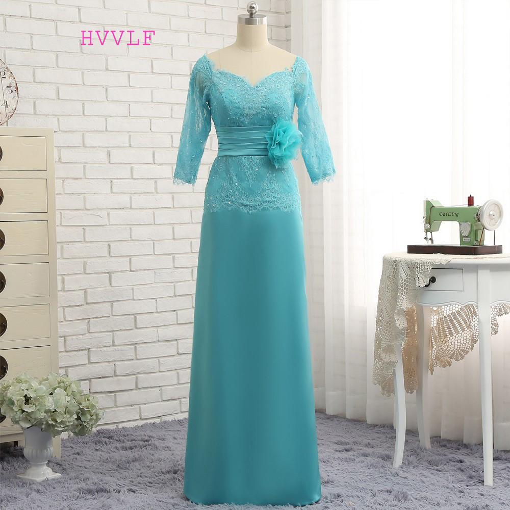 2019 Mother Of The Bride Dresses Sheath V-neck Half Sleeves Lace Turquoise Flowers Mother Dresses Evening Dresses For Weddings