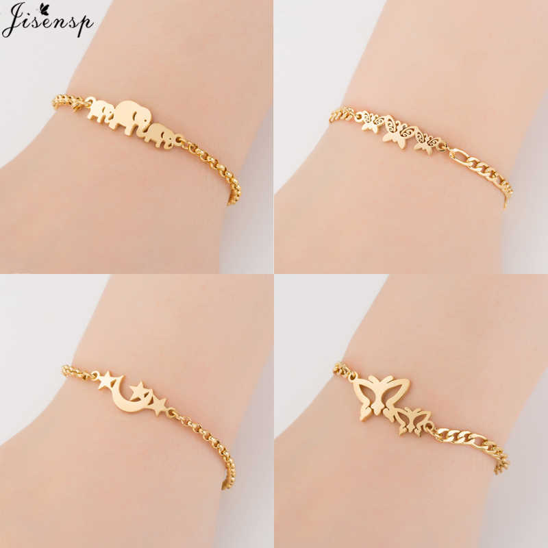Jisensp Gold Stainless Steel Animal Bracelets for Women Everyday Jewellery Butterfly Charm Bracelet Femme Wedding Gift