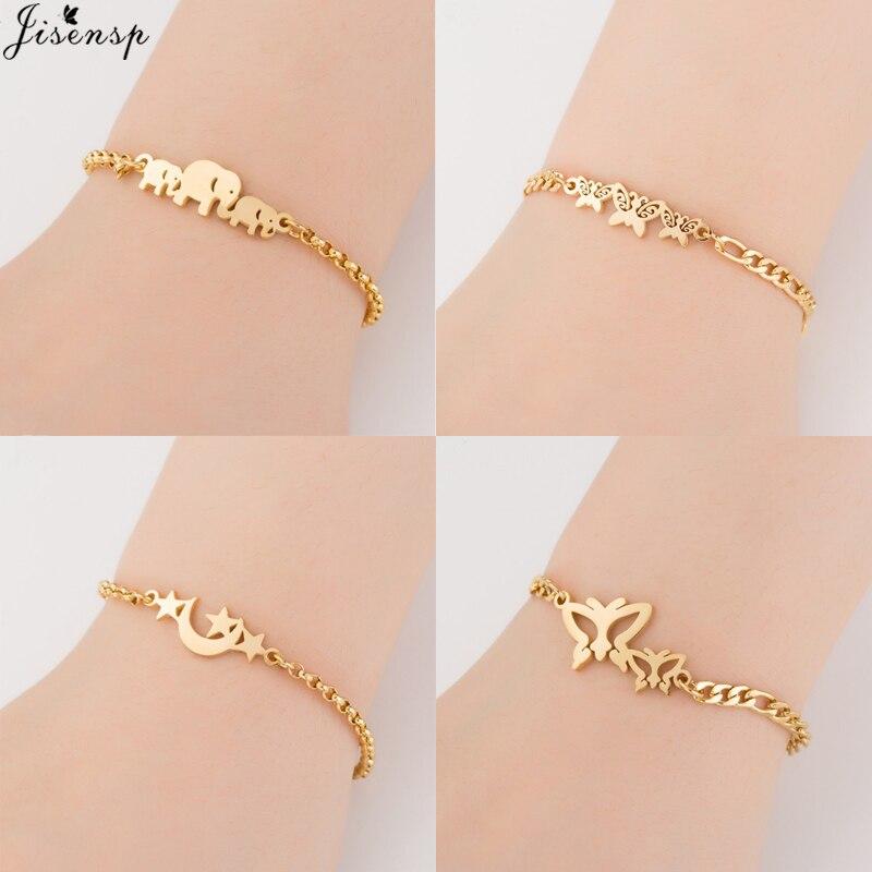 Jisensp Gold Stainless Steel Animal Bracelets for Women Everyday Jewellery Butterfly Charm Bracelet Femme Wedding Gift
