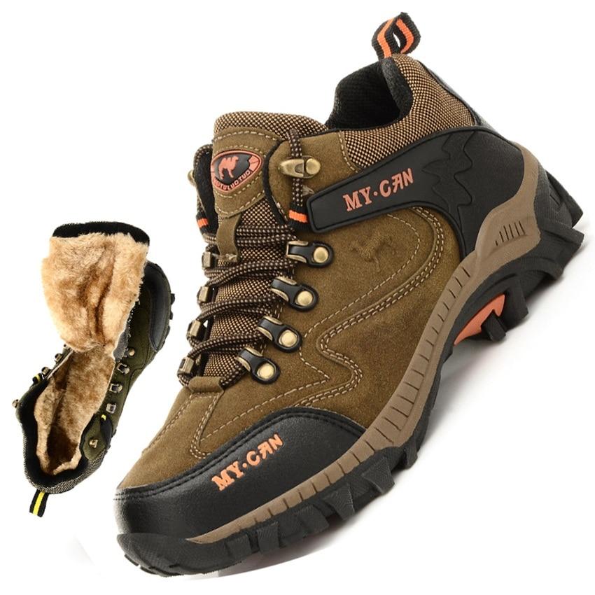 winter plush hiking shoes men outdoor sport climbing mountain shoes men hiking shoes trekking sneakers zapatos hombre men 335h size 36 44 men women hiking shoes sport waterproof leather outdoor shoes mountain climbing boots shoes botas zapatos hombre hw65