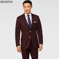 men suits for wedding brown suit for groom wear slim fit high quality custom made suit 2017 top sell