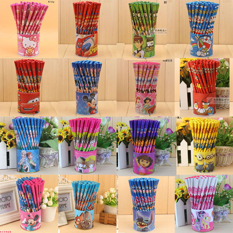 Children Kindergarten Pupils writing 72 Cylinders Cute Cartoon Dora Small Mickey Stiander Snow White Wooden HB Pencil Lapiz