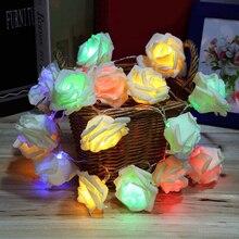 Fashion Holiday Lighting 20 LED Rose Flower String Lights Fairy Wedding Party Christmas Decoration