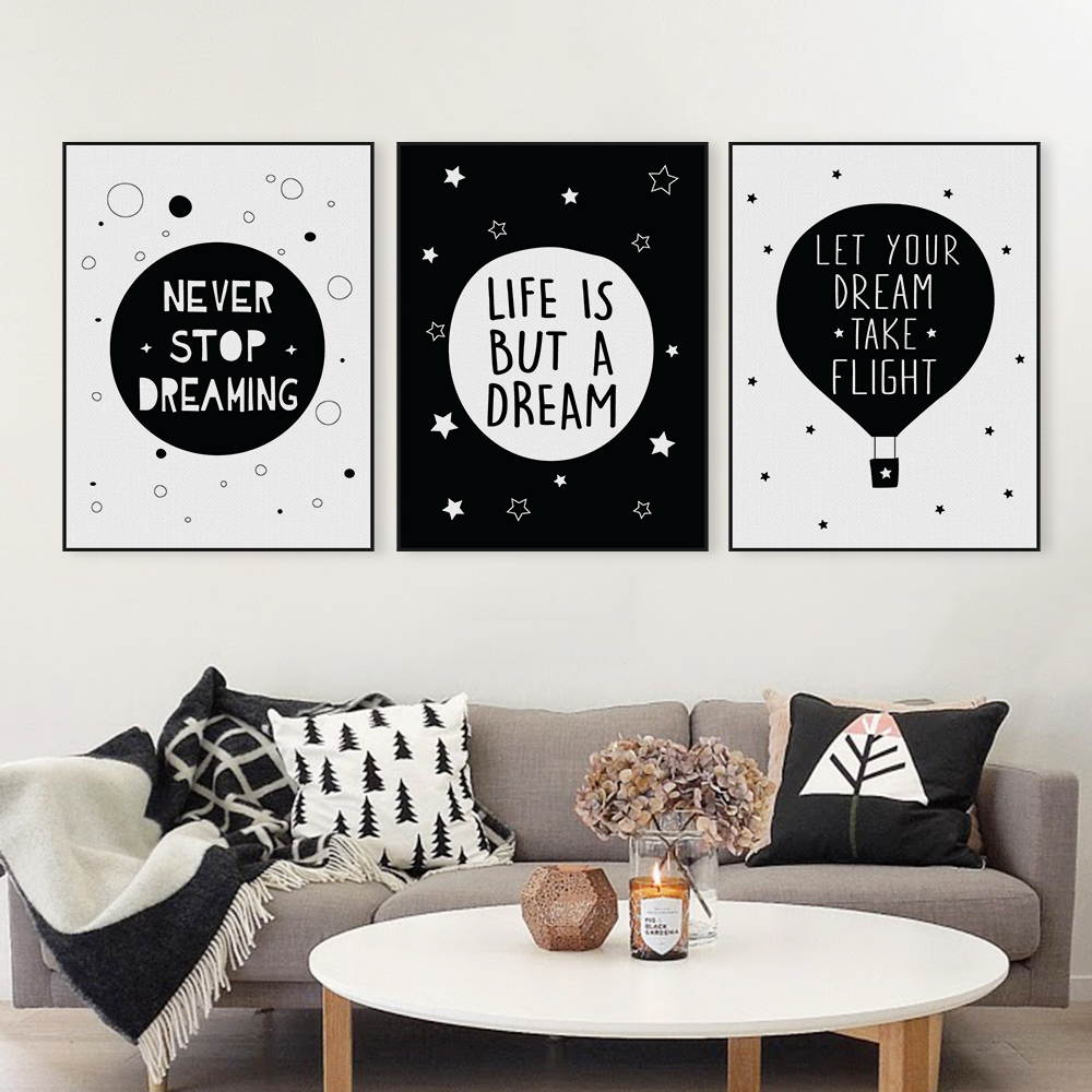 Nordic black white typography dream life quotes art print for Black and white mural prints