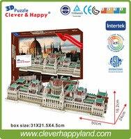 2014 nuova terra intelligente e felice modello 3d di puzzle Palazzo Del Parlamento Ungherese handmade adulto di puzzle modello fai da te per boy