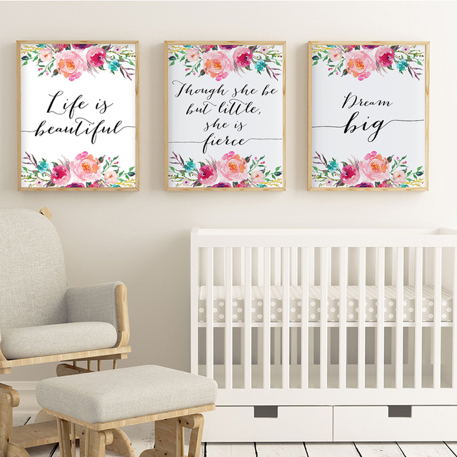 Nordic Nursery Wall Art Fl Quote Canvas Painting Pink And Navy Posters Prints