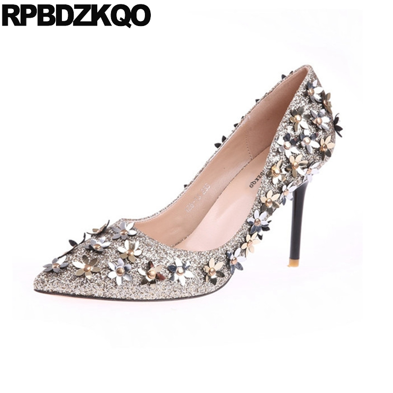 2018 Black Glitter Gold Wedding Shoes Las Scarpin Flower Stripper Bride Pumps Catwalk High Heels Size 4