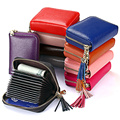 Mini Genuine Leather Zipper Organ Women Card Holder Fringed RFID Lady Travel Card Wallet Cow Leather Credit ID Cardholder Bag
