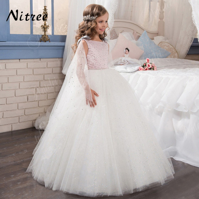 92d6eafa8e New 2017 Pink Flower Girl Dresses with Crystal Baby Pageant Dresses Cape  Ball Gown Birthday First Communion Dresses For Girls