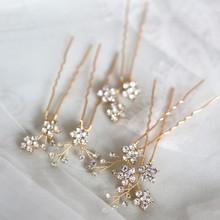 Jonnafe Shine Rhinestone Floral Wedding Hair Pins Set Gold Silver Color Bridal Hair Jewelry Accessories
