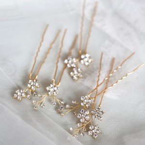 Image 1 - Jonnafe Shine Rhinestone Floral Wedding Hair Pins Set Gold Silver Color Bridal Hair Jewelry Accessories