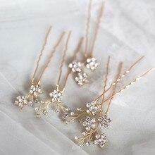 Jonnafe ラインストーン花結婚式のヘアピンセットゴールドシルバー色ブライダルヘアジュエリーアクセサリー