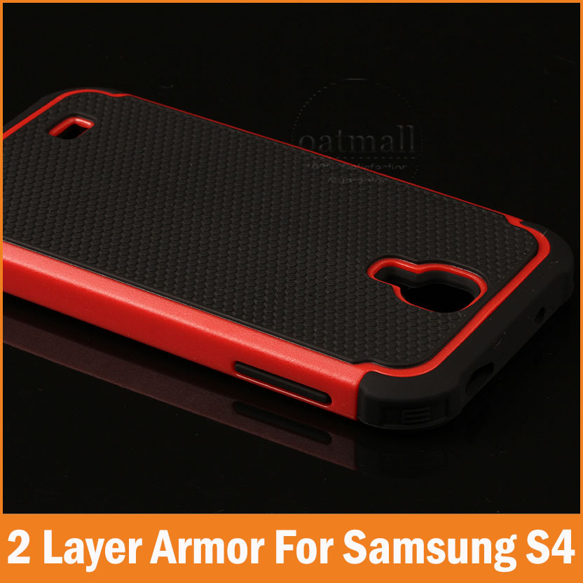 New 2016 Rubber Hybrid slim Armor For samsung galaxy s4 case i9500 Dual layer Back Cover Mobile phone bags Full tough Protector