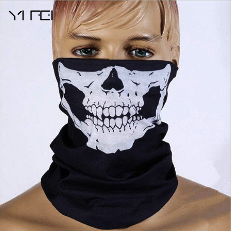 YIFEI Neck Ghost Scarf Ski Mask Halloween Skull Skeleton Mask Motorcycle Bicycle Multi Function Scarf Half Face Mask Cap outdoor head cover outdoor mask with skull head motorcycle bicycle riding climbing uv protect full face ghost skull mask skeleton hats