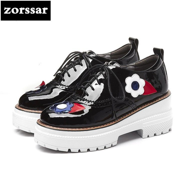 {Zorssar}2018 New Patent leather womens heels platform pumps Lace up Square heel High heels fashion Flowers women Creepers shoes punk platform creepers shoes womens round toe patent leather block high heel pumps lace up riding ankle boots shoes plus size