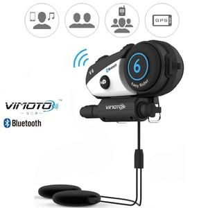 Image 1 - Englisch Version Vimoto V6 600mAh Motorrad Helm Bluetooth Intercom Headset Multi funktionale Stereo Kopfhörer Für Handys