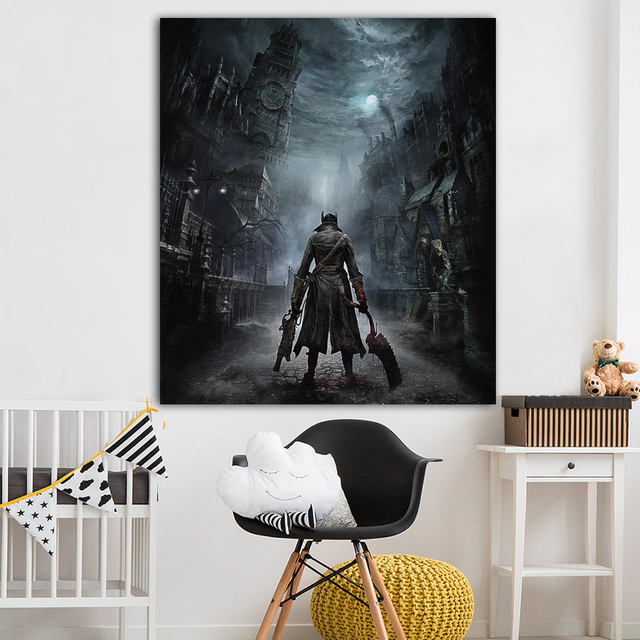 Bloodborne Art Poster Print Game Hunter Canvas Painting Picture for Living Room Wall Decoration Modern Abstract Canvas Paintings 3