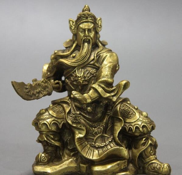 USPS to USA S3309 China Brass Copper Carved Dragon Warrior Guan Gong Guan Yu Buddha Sword Statue (B0328)
