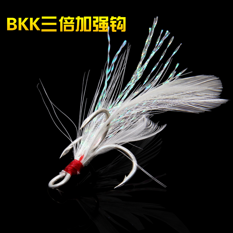 Fishing 5pcs Fishing Treble Hooks Feather Head Red Hook High-carbon Steel With Fishing Tackle Sea Hair With Feather Barbed Three Sharp