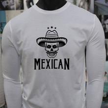 SOMBRERO mexicano cráneo Español Cultura orgullo VIVA blanco para hombre  Camiseta de manga larga(China 1244ccaaecc