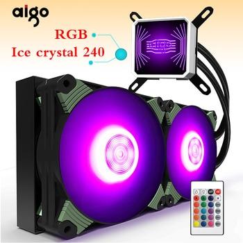 Aigo رادياتير لتبريد للمياه TDP 350 W RGB كمبيوتر مكتبي المبرد وحدة المعالجة المركزية المتكاملة للمياه تبريد تبريد LGA 775/115x/AM2/ AM3/AM4