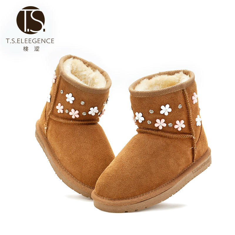 ФОТО T.S. kids  boots  Winter Warm Comfortable Flower Kids Pink Camel Round Toe Flat Rubber Slip-on Children's Snow Boots Size 25-3